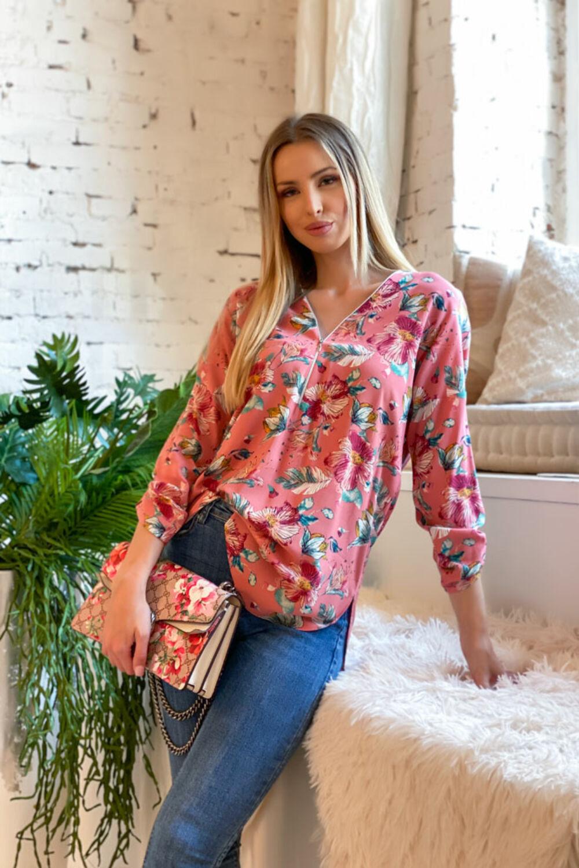 Roxy blúz - rózsaszín alapon virágos