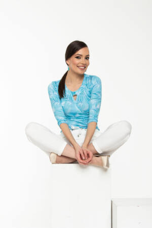 Zsófi póló - kék alapon mintás