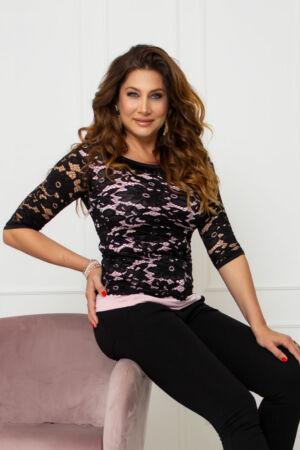 Eliza csipkés póló - rózsaszín/fekete