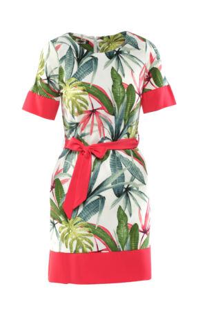 Passzés szegélyű, dzsungel mintás ruha - fehér alap