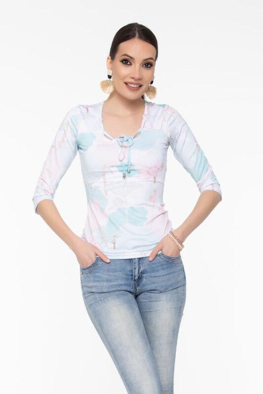 Odett Fűzős dekoltázsú póló - Pasztell virágmintás