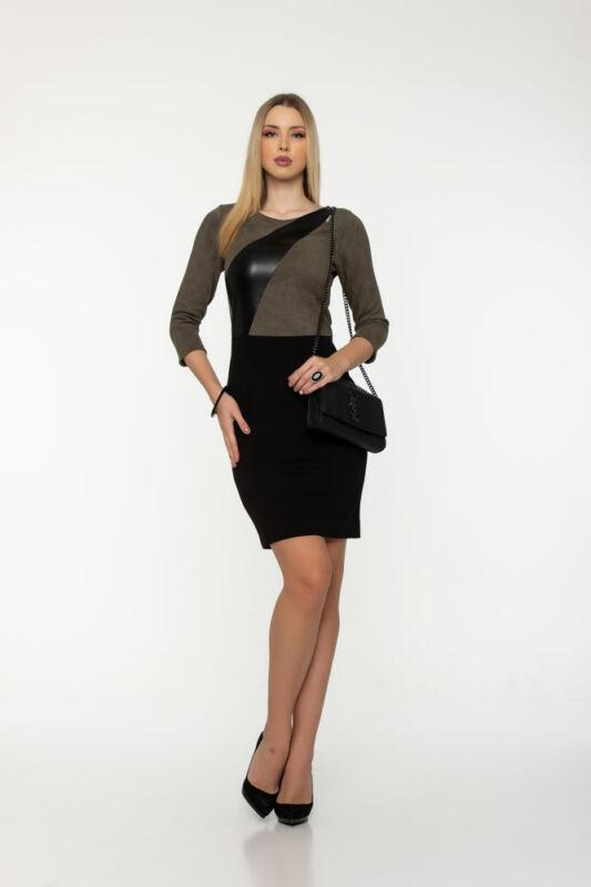 Flóra ruha - olíva/fekete