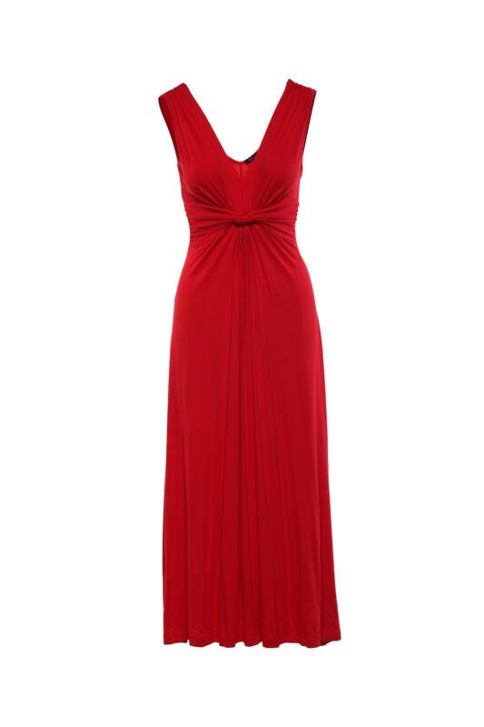 Lágyesésű, csavart dekoltázsú maxi ruha - piros