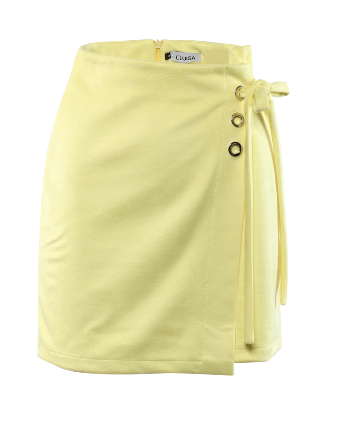 Velúr hatású ringlis szoknya - Sárga