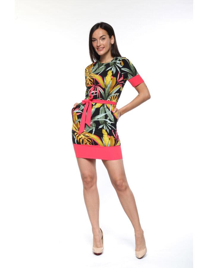 Passzés szegélyű, dzsungel mintás ruha - fekete alap