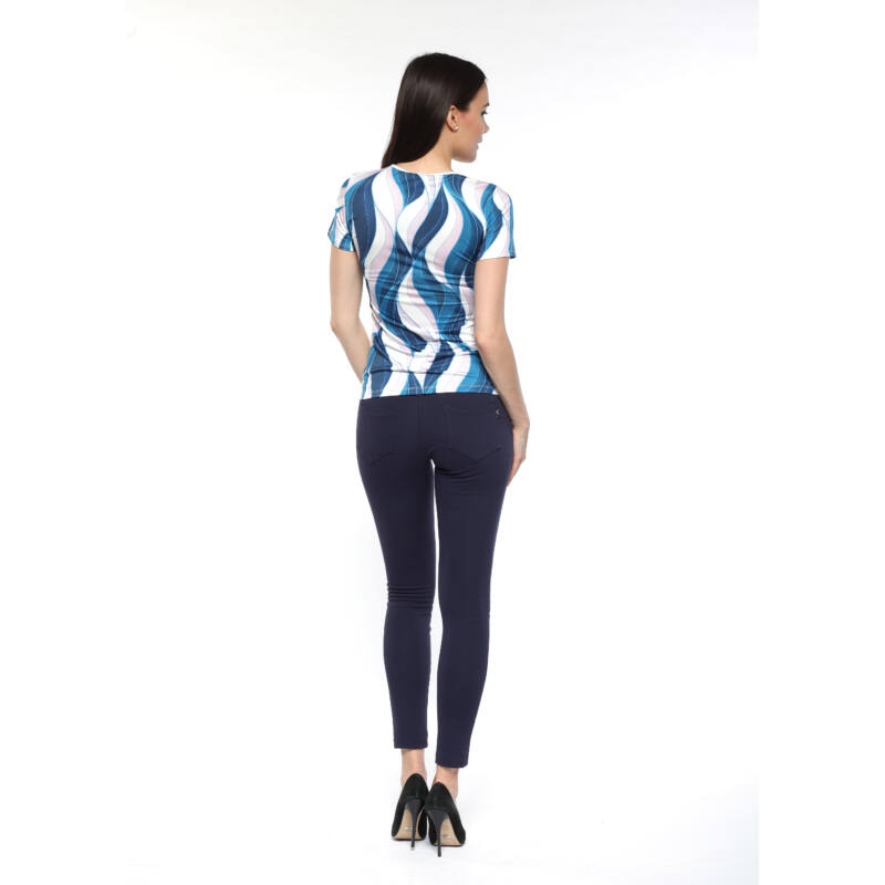 Fűzős dekoltázsú póló - kék/fehér/púder hullámmintás