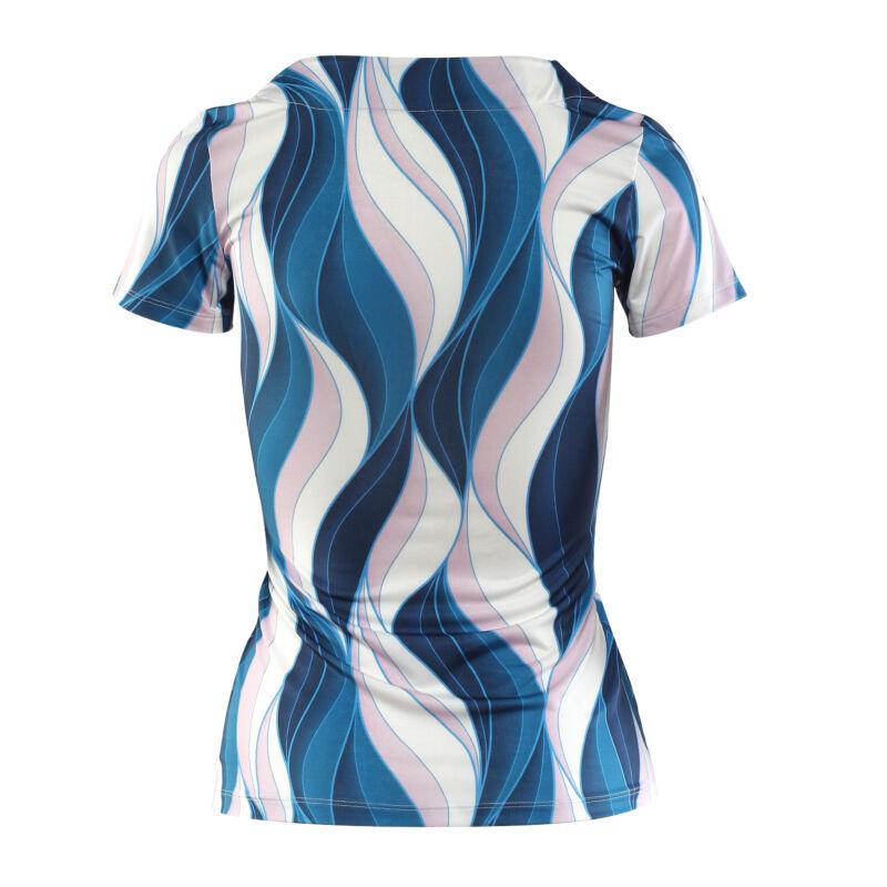 Cippes dekoltázsú kék/fehér/púder mintás póló