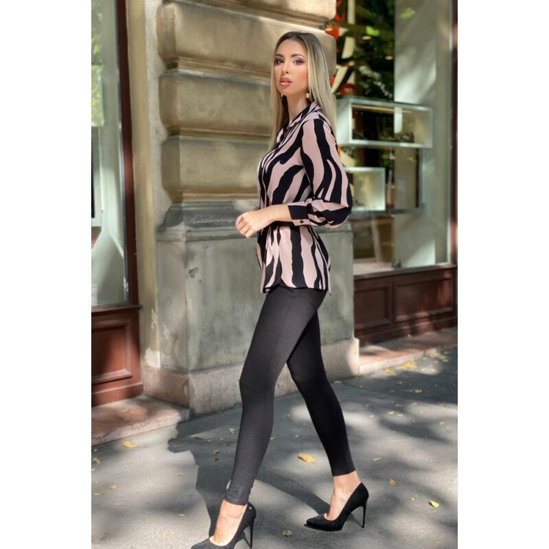 Heni blúz - púder/fekete zebra